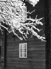 b&w picture of a snowy house scene